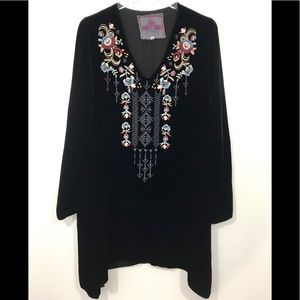 Johnny Was Black Velvet Embroidered Tunic
